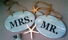 Beach wedding chair signs