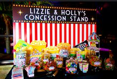 Movie Theme Candy Bar: Assorted candies and treats, bags and ties.