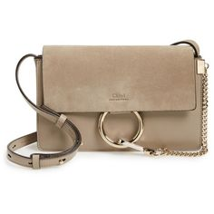 Women's Chloe Small Faye Leather Shoulder Bag (18.798.365 IDR) ❤ liked on Polyvore featuring bags, handbags, shoulder bags, motty grey, chloe purse, chloe shoulder bag, grey handbags, grey leather purse and chloe handbags
