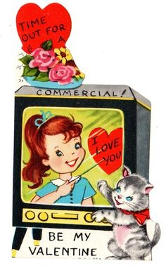 vintage 1960s valentine with tv....very cute!