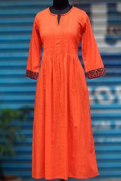 Maati Crafts Orange Cotton Solid Anarkali Kurti