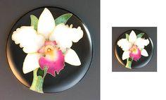 Orchid cloisonne, Zenamels.com  Actual size 1.25 inches