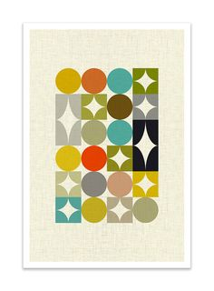 PALETTE no.1 Giclee Print Mid Century Modern Danish by Thedor