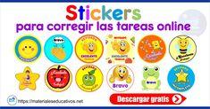 Stickers para corregir las tareas online preescolar y primaria Word Doc, Words, Religion, Mary, Victoria, School, Memes, Ideas, Encouragement