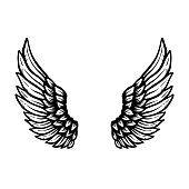 Cartoon Angel Wings, Angel Wings Drawing, Angel Sketch, Wings Sketch, Eagle Wing Tattoos, Egyptian Eye Tattoos, Feather Icon, Wings Icon, Angel Vector