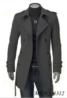 Fashion Men Wool Coat Winter Trench Coat Outear Overcoat Long Jacket Black Gray | eBay