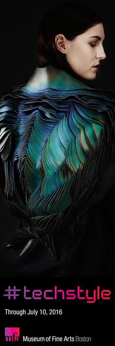 Coated in reactive inks, this leather jacket by T H E U N S E E N  changes color across a rainbow spectrum, responding to heat, light, and air flow—representing a magical side of wearable technology. See it in #techstyle. Plan your visit today!