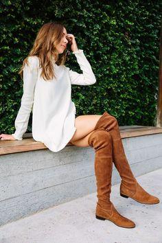 eb91b83bd7bcbe Overknees kombinieren  So trägt man Overknee Stiefel flach