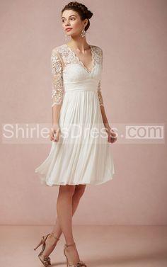 Charming V-Neck Knee Length Chiffon Dress With 3/4 Illusion Sleeve