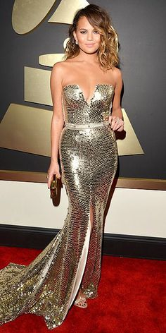 Grammys Awards 2014: Arrivals - Christine Teigen in a Johanna Johnson gold sequined gown with Casadei shoes, People.com