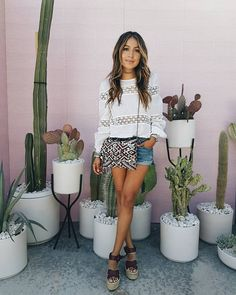 Day time look in @grlfrnd_denim shorts and vintage Valentino top! @revolve #REVOLVEfestival  by sincerelyjules