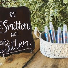 """""""Be Smitten not Bitten"""" How adorable is this sign our bride made for her…"""