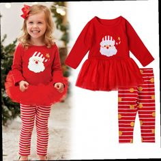 42.80$  Buy here - http://ali71o.worldwells.pw/go.php?t=32757527719 - 2016 Christmas clothing sets for baby girl cotton long sleeve autumn tutu dress + pants kids girls clothes sets 2-7Y