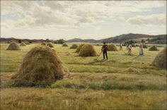 Harvesters under the Silver Clouds by Berndt Lindholm, 1888 Landscape Artwork, Scandinavian Art, Golden Age, Fields, Harvest, Country Roads, Sketch Ideas, Clouds, Champs