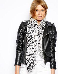 Mango Abstract Zebra Print Scarf Zebra Print, Fashion Online, Mango, Asos, Leather Jacket, Abstract, Jackets, Shopping, Women