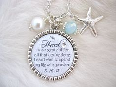 MOTHER of the GROOM Gift Bridal Inspirational quote Man of my Dreams pendant necklace Beach Jewelry Mother in Law Thank you Wedding BRIDE. $24.50, via Etsy.
