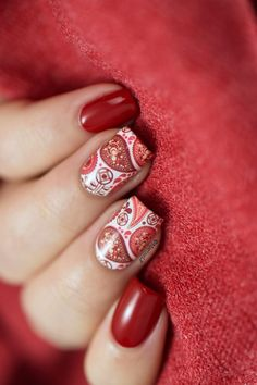 Nailpolis Museum of Nail Art | Red paisley by Marine Loves Polish