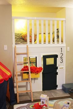 indoor playhouse in fireplace nook if I was under 7 then I would love this! Closet Playhouse, Toddler Playhouse, Kids Indoor Playhouse, Build A Playhouse, Playhouse Ideas, Bunk Bed Playhouse, Backyard Playhouse, Indoor Playground, Toy Rooms