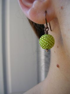 beaded bead earrings in silver lined chartreuse