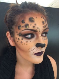 leopard adult face painting all mac cosmetics makeup by claire webster london - Halloween Face Paint Ideas For Adults