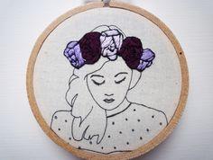 Floral Crown Embroidery 'Macie' 3 inch Hoop Art