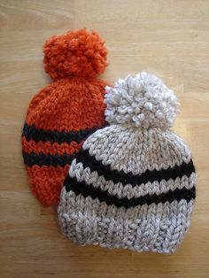 The Toddler Rugby Hat is a super warm and quickly knit hat for little ones with bulky yarn and large needles. Have fun making a few of these as a super fast stash buster!