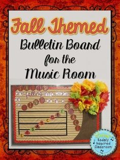 Fall Themed Music Bulletin Board {Treble Lines and Spaces} Leaves are falling into place, on a line or in a space #musictheory #musicedchat #elemused #orff #kodaly #musedchat
