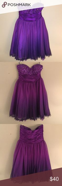 Jump Apparel purple beaded dress. (WORN ONCE) Sleeveless, purple beaded dress. Size: 7/8. Bottom of the dress ombrés into a very dark purple, almost black. A super fun dress that I have always loved, but didn't get to wear. Hopefully someone can enjoy it more often than I got to! Some sequins on the zipper side are coming loose. Dresses Strapless