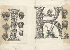printed ornate baroque letters - 'i' + 'k'