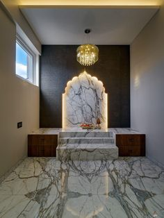 Residential Villa Design Bringing Modernity with Indian Flavours | Studio AVP - The Architects Diary Pooja Room Door Design, Home Room Design, Home Interior Design, Temple Design For Home, Home Temple, Altar, Mandir Design, Pooja Mandir, Puja Room