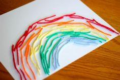 Rainbow activities:  Rainbow yarn art craft.  Great fine motor skill too!