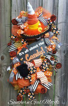 candy corn wreath candy corn swag halloween swag halloween door hanger candy corn door hanger halloween decor fall swag fall wreath - Halloween Candy Wreath