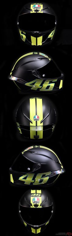 The AGV Corsa R Matte Black Helmet features MotoGP rider Valentino Rossi's distinct number 46 logo on the top and both sides of the helmet. It's a must-have for any Rossi fan! Valentino Rossi Logo, Valentino Rossi Helmet, Agv Helmets, Racing Helmets, Motorcycle Helmets, Matte Black Helmet, Bike Logo, Bike Stickers, Helmet Logo
