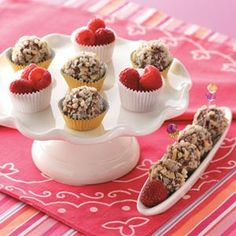 Raspberry Fudge Balls Recipe -I have used this recipe for last-minute gifts. Friends relish the delectable hint of raspberry and the creamy texture of the fudgy treats. It's the perfect addition to your annual cookie tray. —Maria Jaloszynski, Appleton, Wisconsin