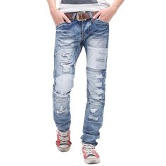 a5826d2b1470 2016 Summer Mens Ripped Jeans Mens Solid Denim Jeans Drawstring High  Waisted Distressed Skinny Jeans in Blue Relaxed fit jeans collection for men  .