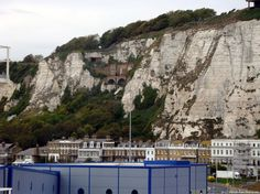 View of white cliffs beneath the castle, incorporating the not-so-secret-anymore, wartime tunnels.