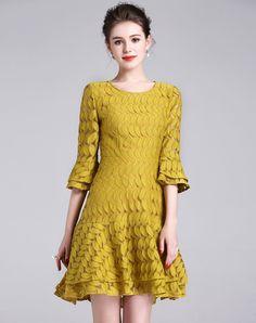 #AdoreWe #VIPme Sheath Dresses - BIEMEI Yellow Bell Sleeve Ruffle Lace Sheath Dress - AdoreWe.com