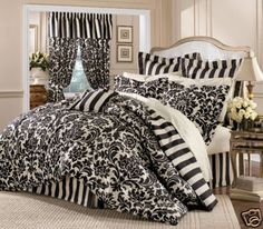 Twin Microfiber Kids Dainty Bedding Comforter Set Pink Little - Black and white damask bedding
