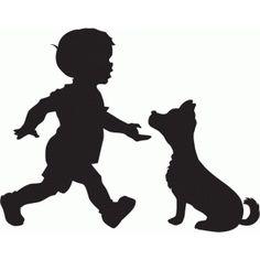 Silhouette Design Store: boy with dog silhouette