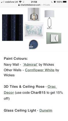 Glass Ceiling Lights, Ceiling Decor, Navy Walls, 3d Tiles, Paint Colors, Coding, Colours, Bedroom, Painting