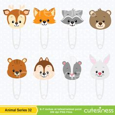 Baby Animal Clipart Baby Woodland Animals Clipart by Cutesiness