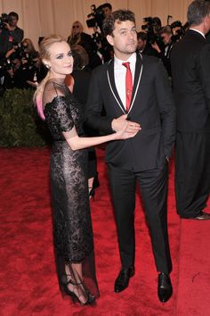 Met Gala 2013 Red Carpet Arrivals Diane Kruger and Joshua Jackson Kruger wears Chanel Haute Couture