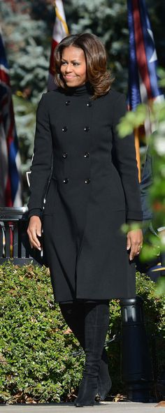 Love this look! The First Lady at Arlington National Cemetery in observance of Veterans Day