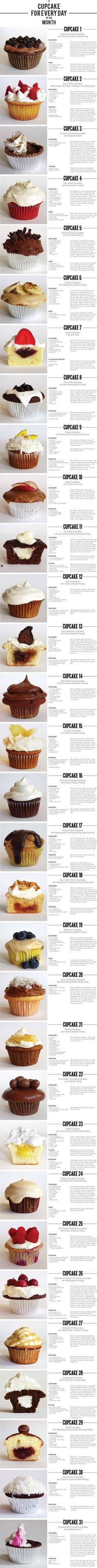 31 cupcakes!! need to try this! Great cupcake ideas! #cupcakes #cupcakeaday