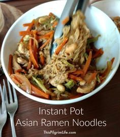 The Instant Pot is making quick and delicious meals so much easier! Here is one meal idea for Asian ramen noodles that only takes fifteen minutes from start to finish!