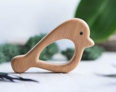 Bio-Holz Beißring. Buche-Rassel. Handgeschnitzte Beißring. Natürliche Babyspielzeug. Eco-Friendly Kleinkind Spielzeug.