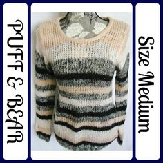 "🐻Size Med PUFF & BEAR Long Sweater🐻 Excellent Condition, worn 1 time, 100% Acrylic   | Measurements, flat and not stretched | Chest - 18"" across from underarm to underarm 