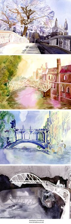 Watercolour Illustration. Cambridge Architecture. Freelance Illustrator Anastasiya Levashova. www.levashova.co.uk