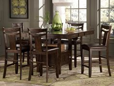 DRESDEN-7pcs SQUARE RECTANGULAR COUNTER HEIGHT DINING ROOM TABLE CHAIRS PUB SET #Cottage