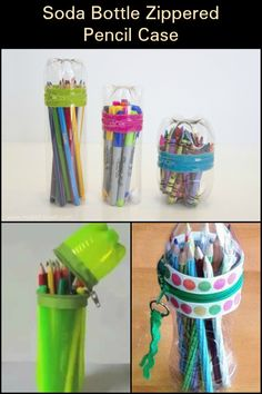 Make a Cute Pencil Case Out of Your Empty Plastic Soda Bottles Soda Bottle Crafts, Plastic Bottle Crafts, Diy Bottle, Soda Bottles, Cute Pencil Case, Zipper Pencil Case, Reuse Plastic Bottles, Recycled Bottles, Diy Arts And Crafts
